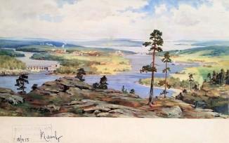 Карелия, эскиз панно для павильона Карело-Финской ССР на ВСХВ
