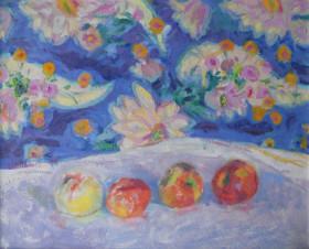 Яблоки и декоративный фон
