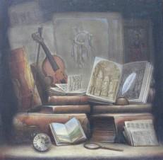 Натюрморт с книгами и скрипкой