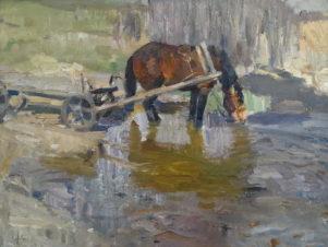 Вешние воды. Лошадь пьет