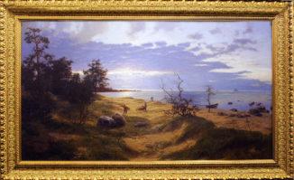 Вечерний пейзаж с рыбаками. Песчаный берег.