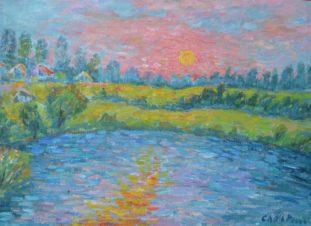 Пейзаж с солнцем
