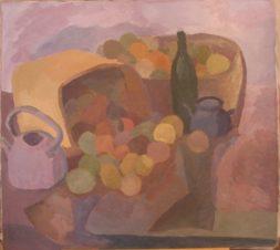 Натюрморт с яблоками и бутылкой
