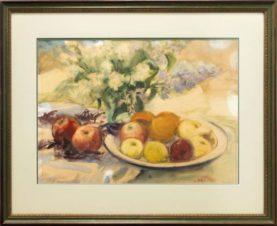 Натюрморт с сиренью и яблоками