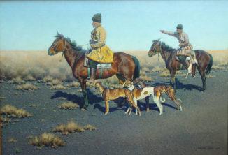 Казаки-охотники с собаками в степи Аскания-Нова