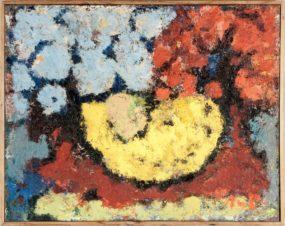 Цветы голубые и красные