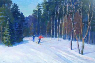 Зимнее утро. Лыжники