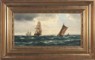 Морской пейзаж с парусными кораблями