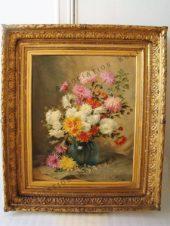 «Хризантемы в круглой вазе»