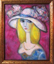 Дама в шляпе с желтыми волосами