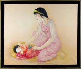 Мать и спящий малыш