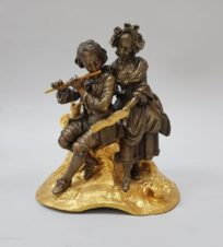 Флейтист и девушка с нотами (бронзовая статуэтка)
