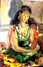 Жанровый портрет актрисы, жены художника. Цыганка