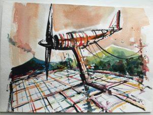 Огромный самолет-игрушка с пропеллером на фоне гор и линий электропередач