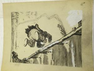 Падение с моста. Иллюстрация к сказке «Шемякин суд»