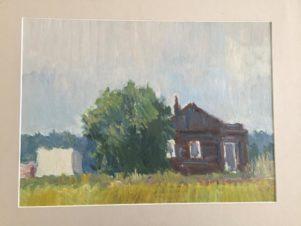 Пейзаж с коричневым домом