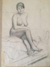Сидящая обнаженная, закинувшая нога на ногу