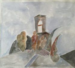 Дом с башней и пейзаж вокруг