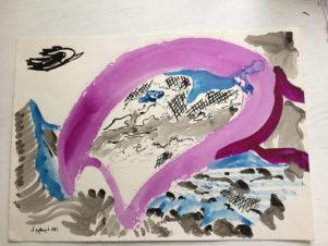 Фиолетовое на фоне моря