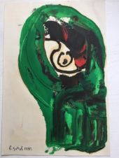 Зеленая абстракция с черно-красным внутри