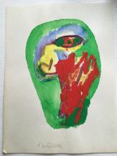 Зелено-красная абстракция с желто-голубым внутри