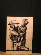 Бородач с девушкой на коленях (на обороте — «Офицер с саблей)