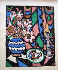 Натюрморт со свечей и цветами