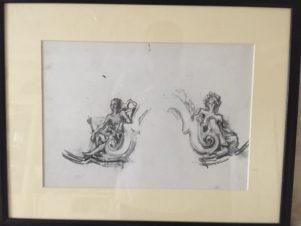 Две фигуры. Эскиз фрагмента декорации к спектаклю «Бал-маскарад»