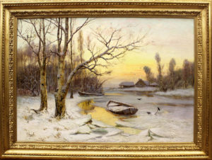 Зимний пейзаж с лодкой
