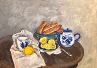 Натюрморт с лимонами и гжелью