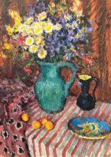 Цветы на полосатой скатерти