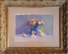 Большой акварельный натюрморт с синей вазой и дымковской игрушкой