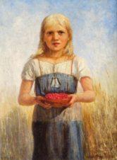 Девочка с корзиной малины