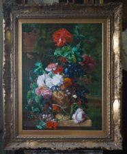 Цветы (Копия картины «Букет цветов в терракотовой вазе» Яна Ван Хейсума)