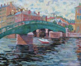 Канал Грибоедова. Пейзаж с катером