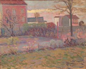 Пейзаж с садом и розовыми домами