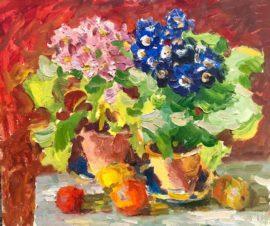 Натюрморт с цветами в горшочках