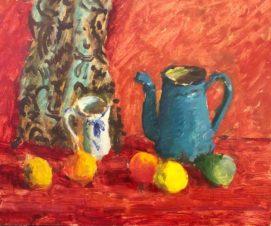 Натюрморт с голубым кувшином и лимонами