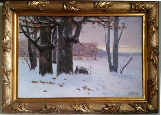 Зимний пейзаж с деревьями