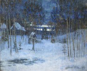Таинственная зима (зимний вечер на краю села)