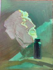 Портрет Немухина в зеленых тонах.