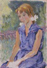 Портрет девочки в синем платье