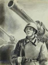 Эскиз обложки журнала «Советский воин»