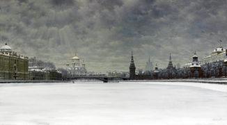 Зимний вид на Московский Кремль, Храм Христа Спасителя и Софийскую набережную
