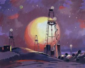 Нефтяная буровая ночью