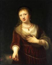 Фарфоровый пласт «Портрет Саскии с цветком»