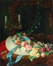 Натюрморт с розами и соломенной шляпой
