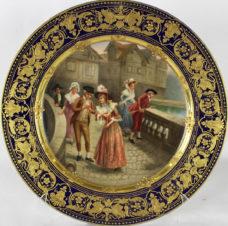 декоративная тарелка «Дамы и кавалеры, занимающиеся ловлей рыбы»