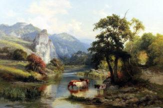 Пейзаж со стадом у реки