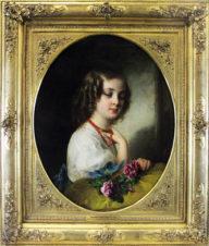 Девочка с коралловыми бусами и розами